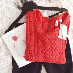 Moth Red Zipper Sweater